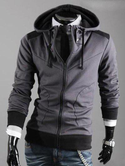 Drawstring Hooded Color Block Zipper Hoodie - DEEP GRAY M