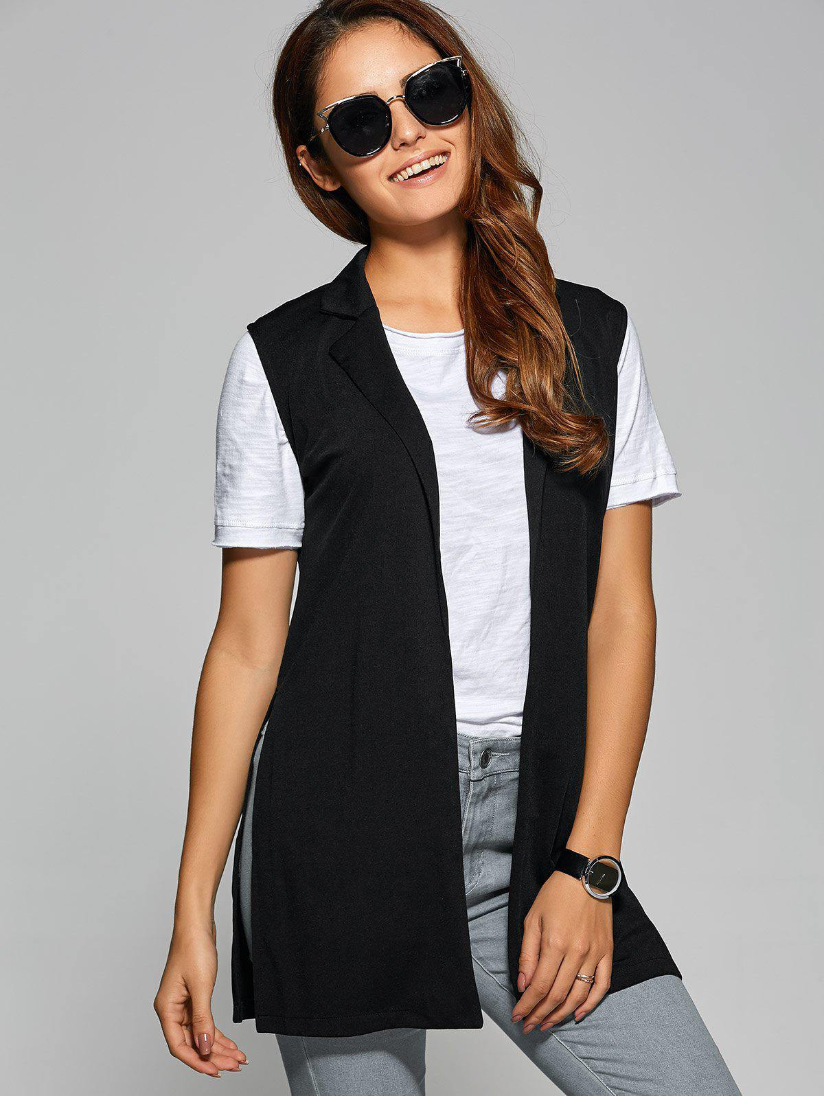 Side Slit Lapel Collar Vest - BLACK M