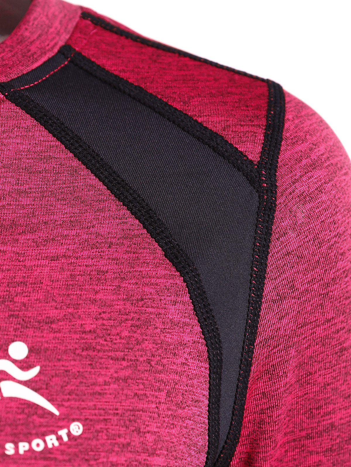 Color Block Heather Running T-Shirt - ROSE RED XL