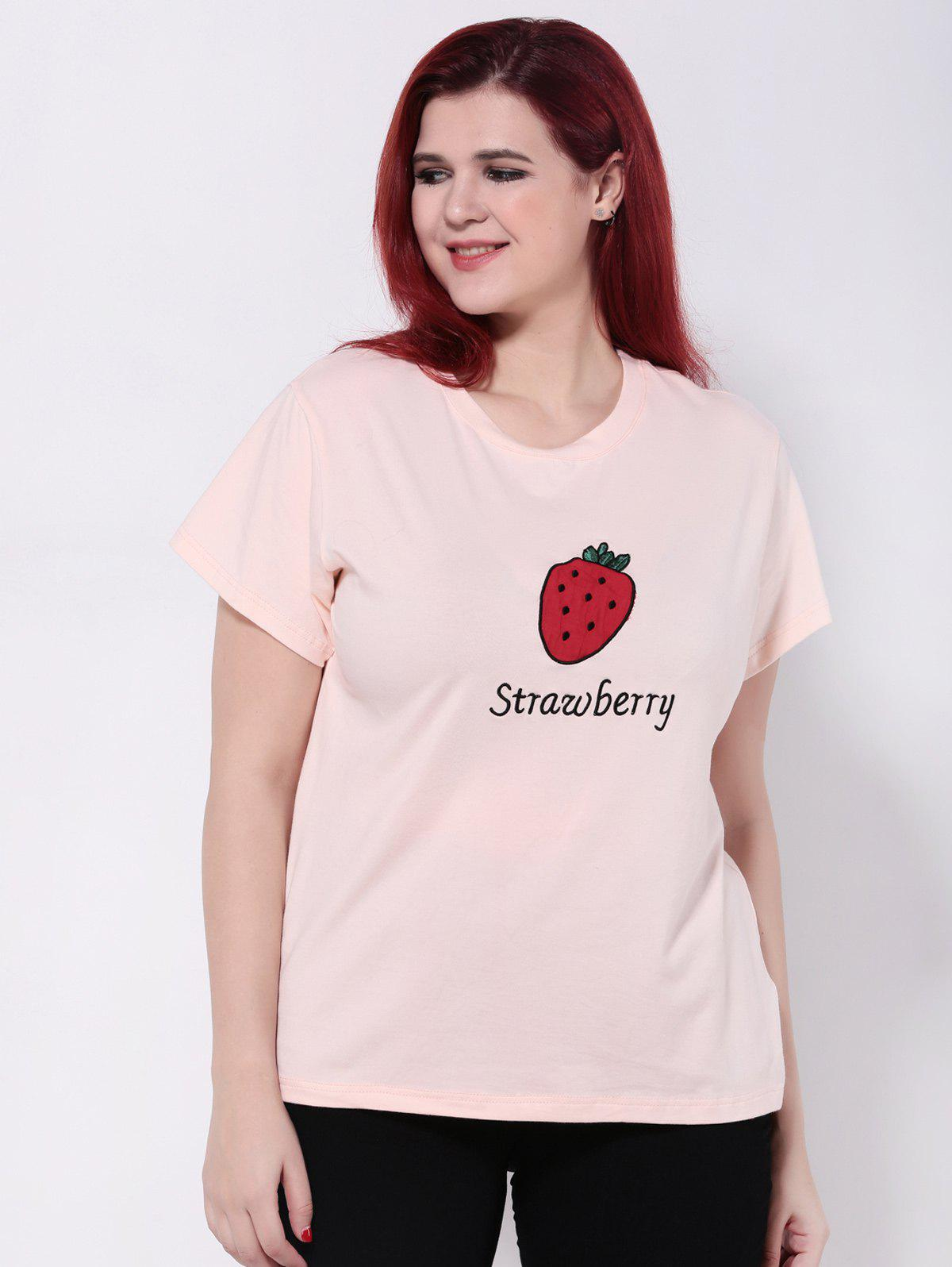 2018 strawberry imprimer manches courtes t shirt rose clair xl in t shirts de grande taille. Black Bedroom Furniture Sets. Home Design Ideas