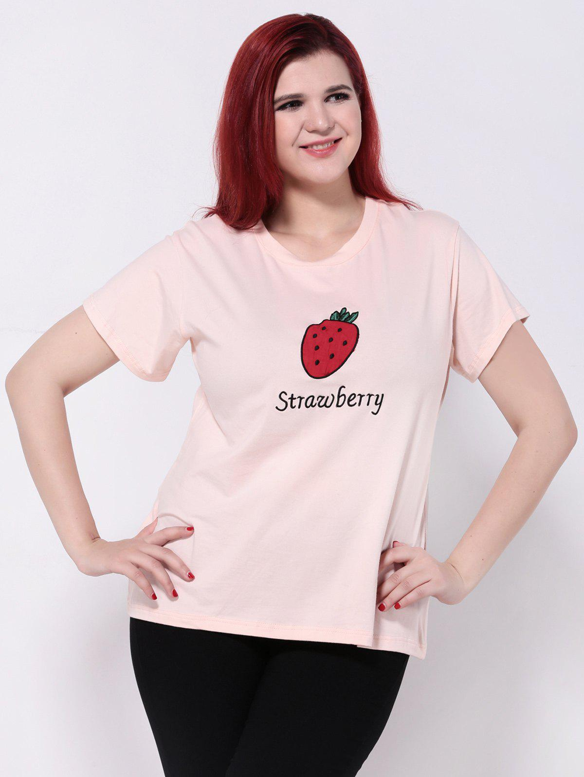 Strawberry Print Short Sleeve T-ShirtWomen<br><br><br>Size: 4XL<br>Color: SHALLOW PINK