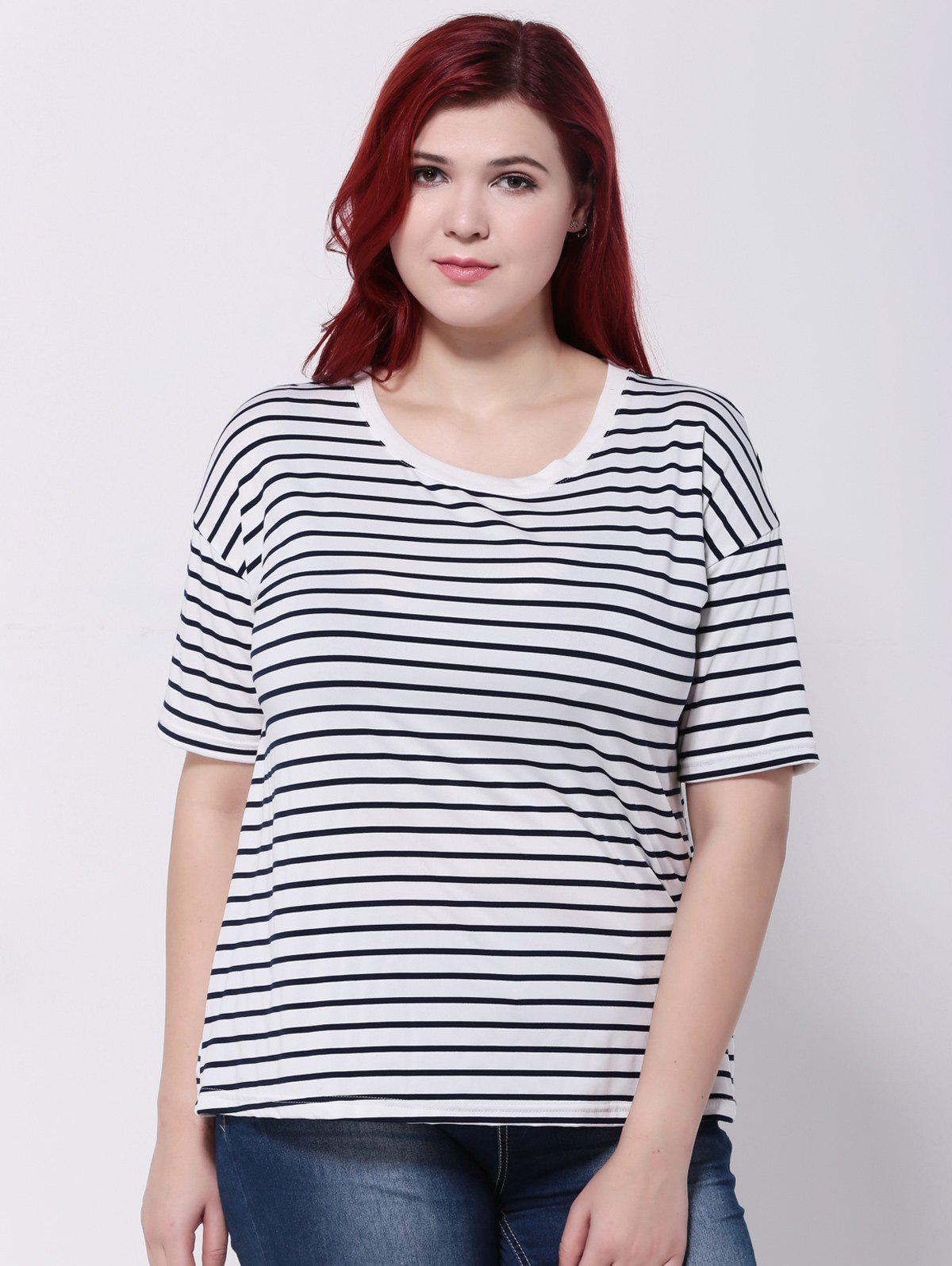 Striped Short Sleeves T-ShirtWomen<br><br><br>Size: 3XL<br>Color: WHITE AND BLACK