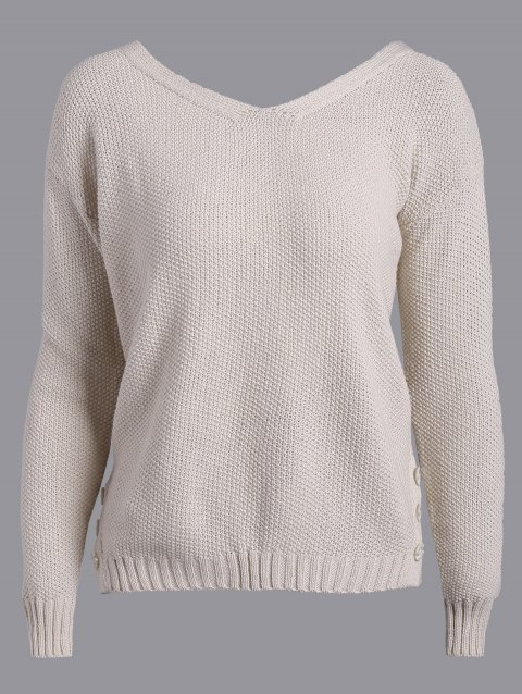 Back Tie Buttons Embellished Sweater - APRICOT S