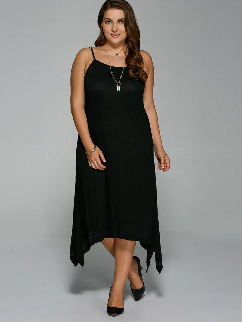 Plus Size Asymmetric Hem Spaghetti Strap Dress - BLACK 2XL