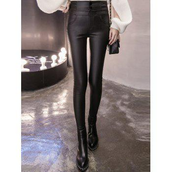 Flocking Faux Leather Skinny Pants