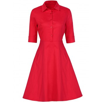 Vintage Button Design High Waist Dress - RED RED