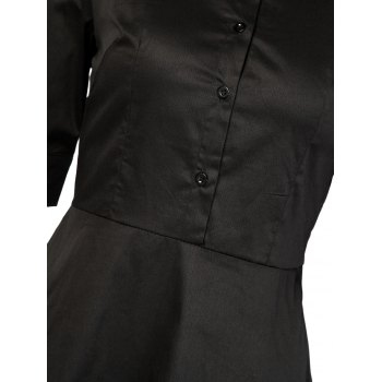 Vintage Button Design High Waist Dress - BLACK BLACK