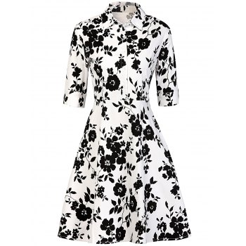 Vintage Buttoned Floral Print Dress - WHITE AND BLACK M