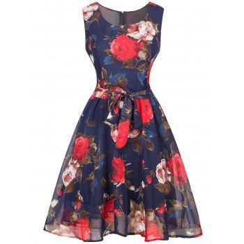 Retro Floral Print Belted Chiffon Dress