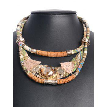 Retro Layered Faux Crystal Statement Necklace
