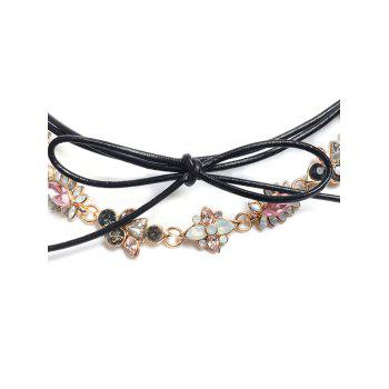 Concise Floral strass bowknot Choker - Or