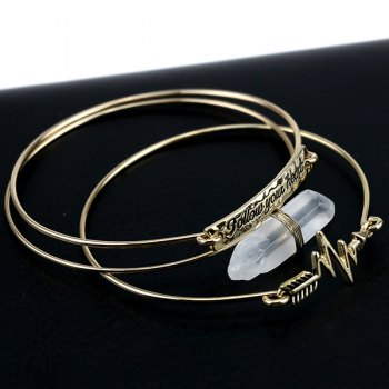 3PCS Stone Letter ID Friendship Bracelets - GOLDEN