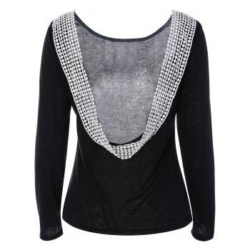 Back Cut Out Lacework Splicing T-Shirt