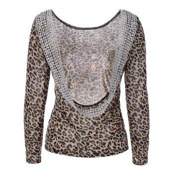 Backless Leopard Print T-Shirt with  Lace Panel