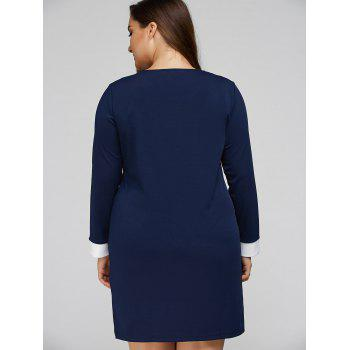 Plus Size Double-Breasted Patchwork Dress - PURPLISH BLUE 2XL