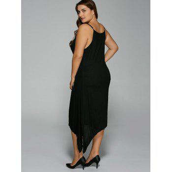 Plus Size Asymmetric Hem Spaghetti Strap Dress - BLACK 3XL