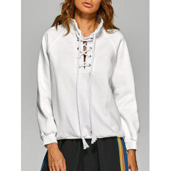 Front Criss-Cross Stand Collar Sweatshirt