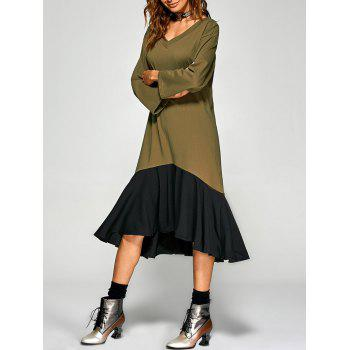 Loose Fit Flounce Hem Asymmetric Dress