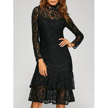 Flounce Hem See-Through Robe en dentelle