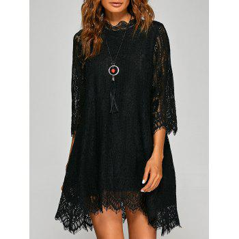 Loose Irregular Hem Openwork Lace Dress With Sleeves