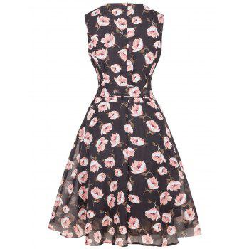 Floral Chiffon Knee Length Belted Flare Dress - S S