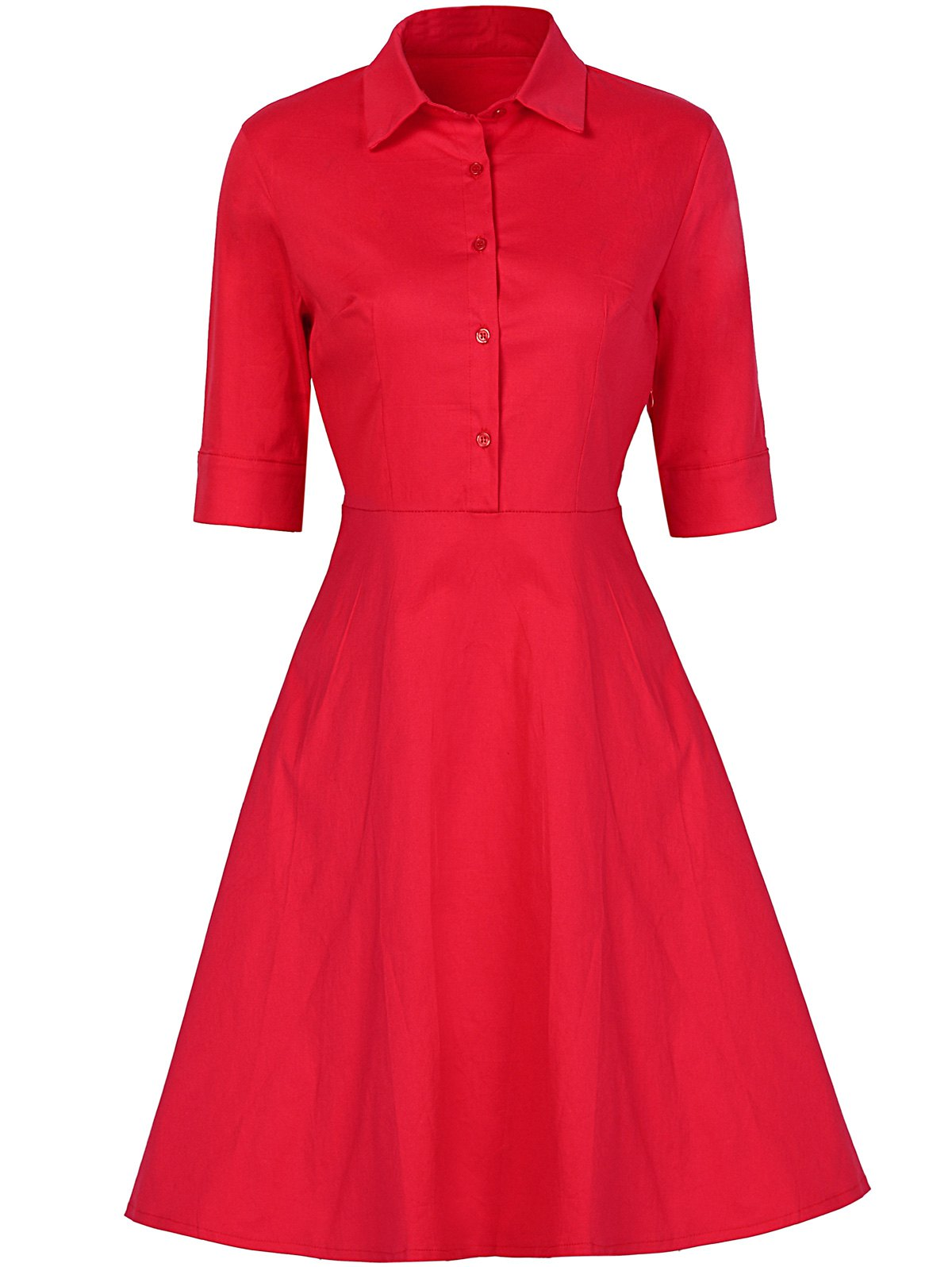 Vintage Button Design High Waist Dress - RED L