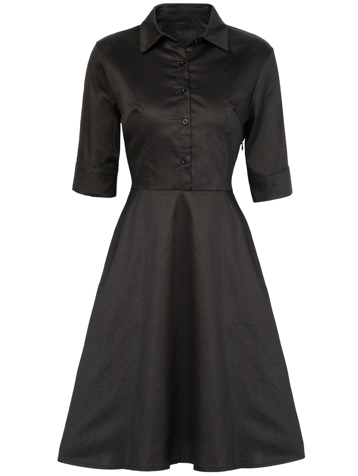 Vintage Button Design High Waist Dress - BLACK XL