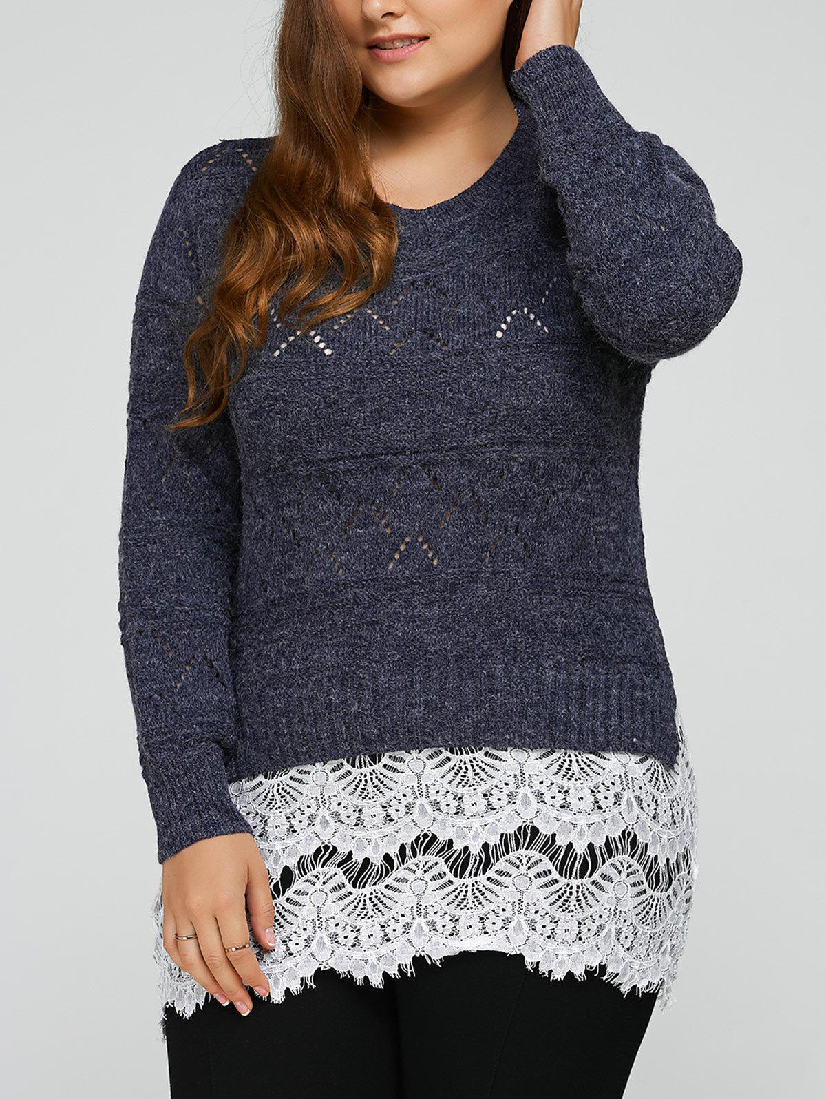 Plus Size Lace Splicing Openwork SweaterWomen<br><br><br>Size: 2XL<br>Color: COLORMIX