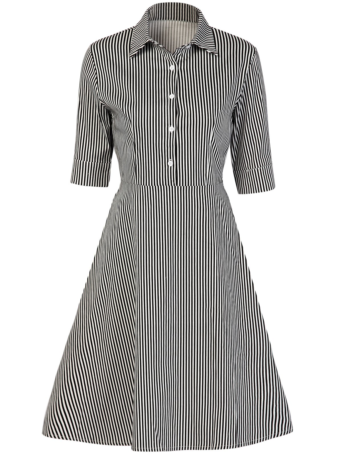Vintage Button Design Striped A Line Dress - STRIPE L
