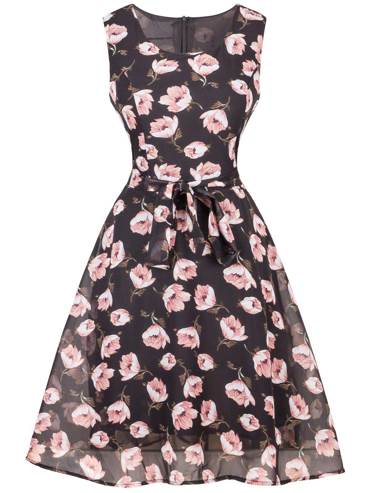 Floral Chiffon Knee Length Belted Flare Dress - BLACK S