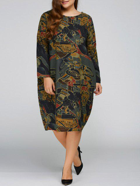 Plus Size Print Cocoon Dress with Pocket - GRAY ONE SIZE