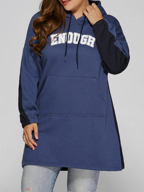 Color Block Plus Size Hooded Sweatshirt Dress - BLUE/BLACK 4XL