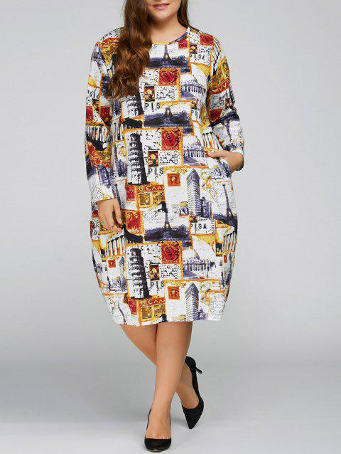 Plus Size Buildings Cocoon Dress with Pocket - YELLOW ONE SIZE