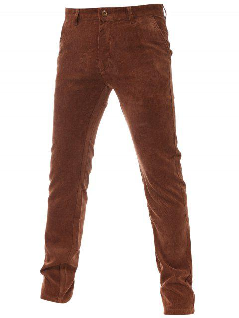 Zipper Fly Fleece Doublure Pantalon en velours côtelé uni - Brun 28