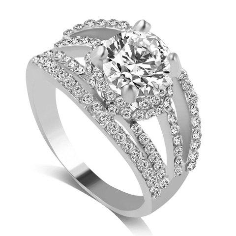 Rhinestone Engagement Hollow Out Ring - SILVER ONE-SIZE