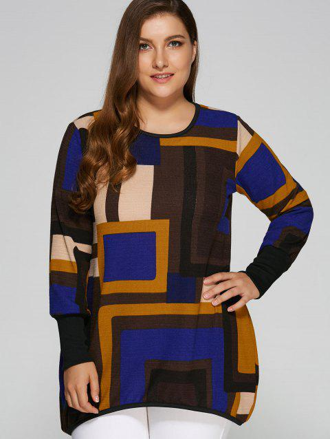 Geometric Loose Long Knitwear - BLUE XL