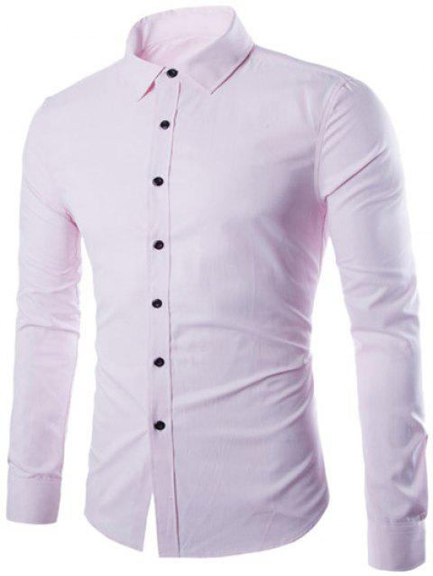 Plus Taille Slimming Col Rabattu Manches Longues - Rose XL