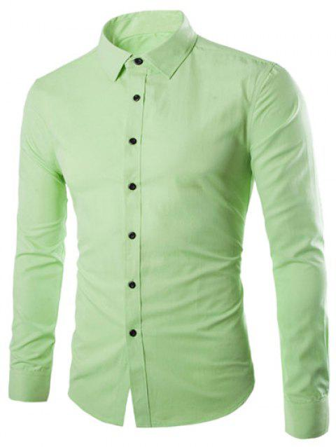 Plus Taille Slimming Col Rabattu Manches Longues - Pomme Verte M