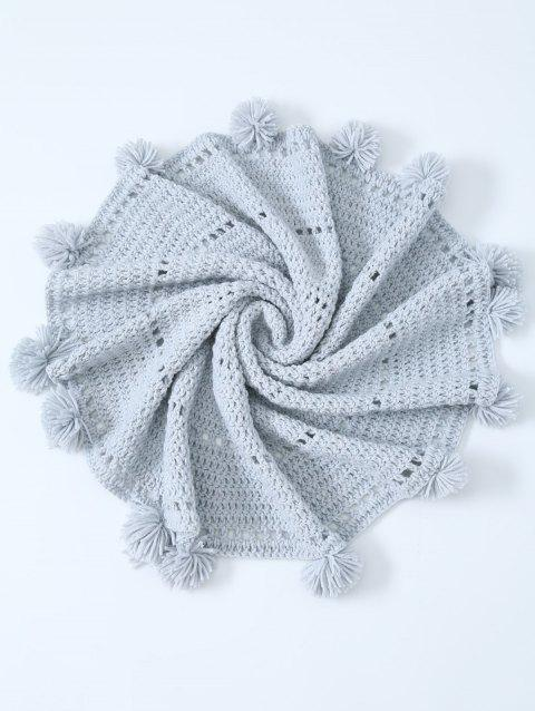 Blanket Comfy Pompon bord évider Crochet Knit ronde - Gris Clair ONE SIZE(FIT SIZE XS TO M)