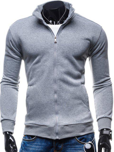 Stand Collar Fleece Zip-Up Jacket - LIGHT GRAY M