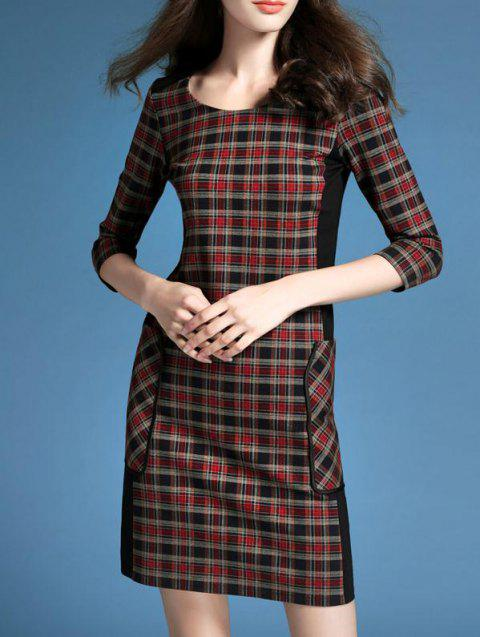 Side Pockets Plaid Trim Dress - CHECKED 2XL