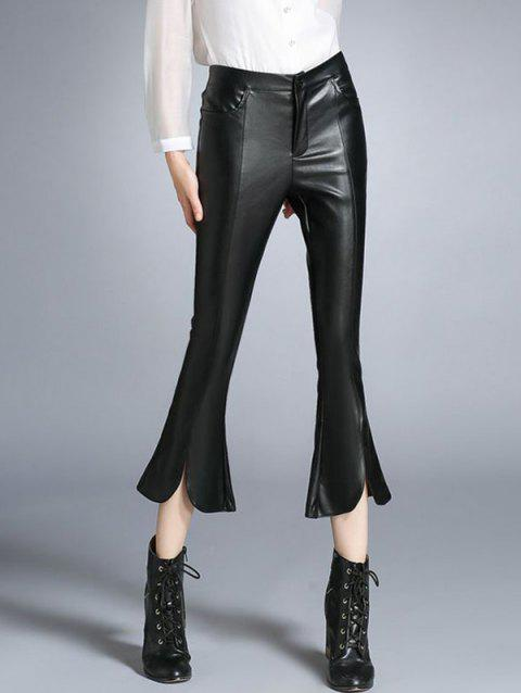 Faux Leather Furcal Flare Pants - BLACK S
