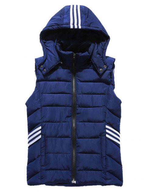 Zip-Up Hooded Stripe Agrémentée Bas Waistcoat - Cadetblue L
