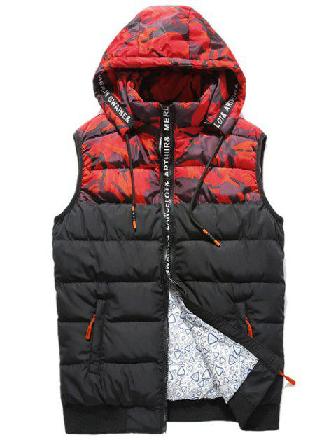 Selvedge Embellished Camouflage Spliced Hooded Zip-Up Down Waistcoat - RED 3XL
