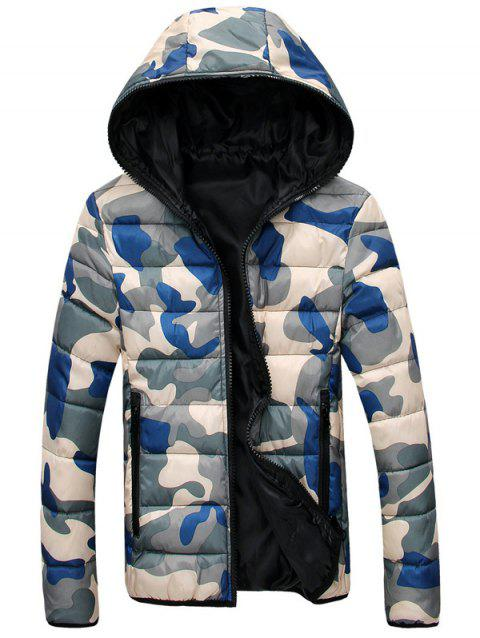 Hooded Zip-Up Camouflage Veste matelassée - Bleu et Jaune 2XL