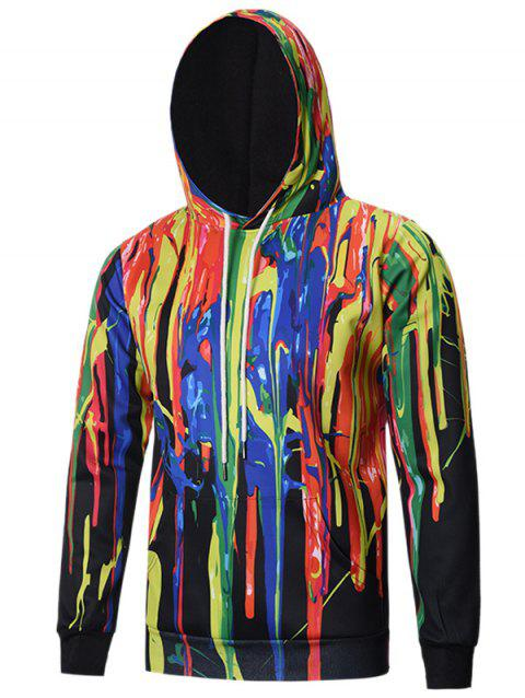 Pullover Ink Splattered Hoodie - COLORMIX 2XL