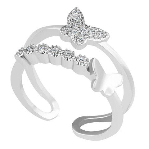Rhinestone Butterfly Ring - SILVER ONE-SIZE