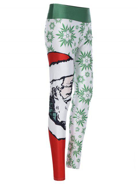 Slimming 3D Santa Claus Print Leggings - RED/GREEN ONE SIZE