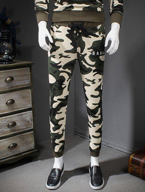 Letters Print Drawstring Waist Camouflage Style Jogger Pants - WHITE 2XL