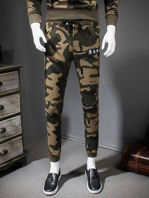 Letters Print Drawstring Waist Camouflage Style Jogger Pants - GINGER 3XL